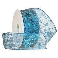Turquoise Sparkle Snowflake on Sheer Turquoise Wide Wired Ribbon
