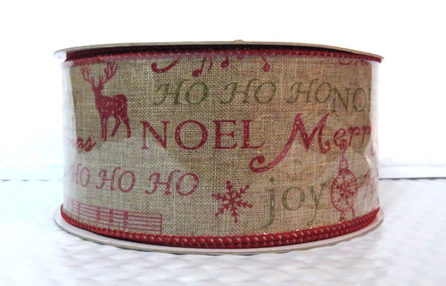 Holiday Greetings on Natural Burlap Wide Wired Ribbon 25 Yards