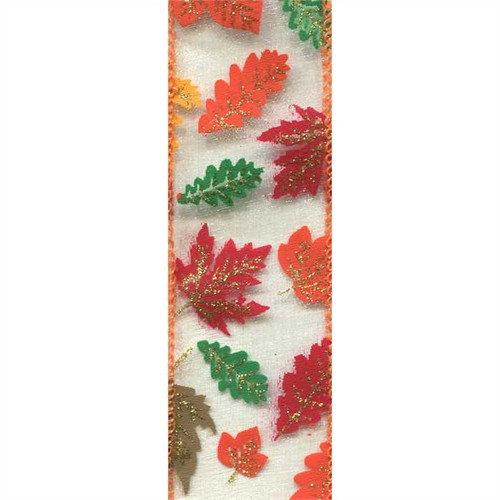 Fall Leaves on Sheer Yellow Monte Orange Wired Ribbon 50 Yards
