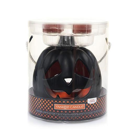 All Hallows Eve Black Pumpkin Ceramic Luminary Tea Light Holder Set Yankee Candle