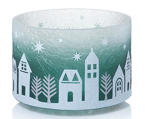 Winter Village Crackle Glass Barrel Jar Shade Yankee Candle