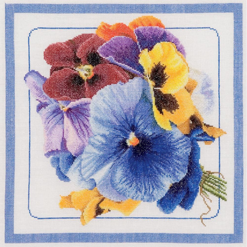 Pansies On Linen Counted Cross Stitch Kit Thea Gouverneur