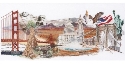 America On Linen Counted Cross Stitch Kit Thea Gouverneur