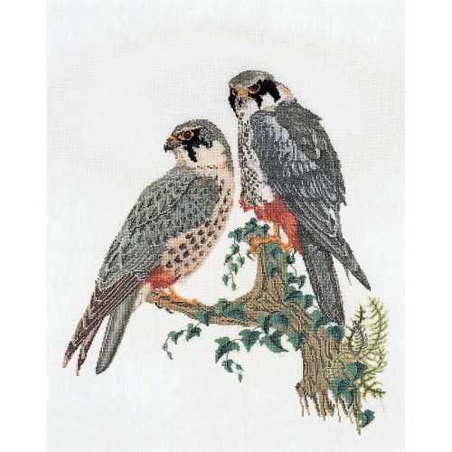 Falcons On Linen Counted Cross Stitch Kit Thea Gouverneur