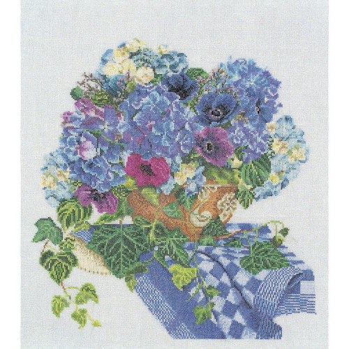 Hydrangea & Anemone On Linen Counted Cross Stitch Kit Thea Gouverneur