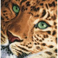 Leopard on Cotton Counted Cross Stitch Kit LanArte