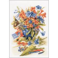 Flower Vase on Cotton Counted Cross Stitch Kit LanArte