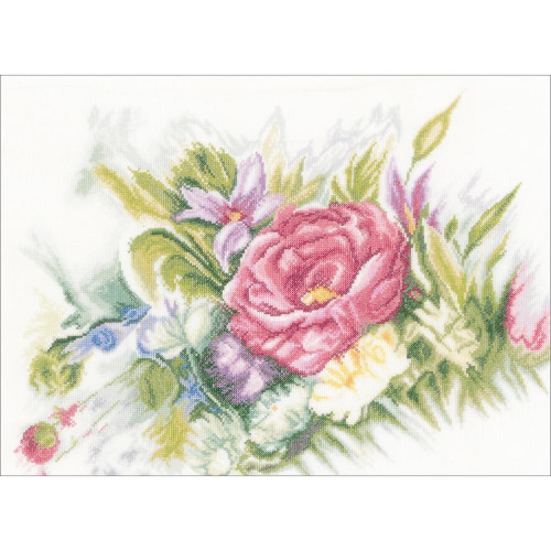 Watercolor Flowers on Linen Counted Cross Stitch Kit LanArte
