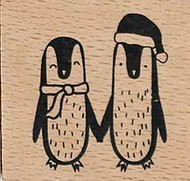 Penguin Pair Wood Mounted Rubber Stamp Dovecraft