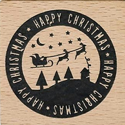 Santa In Flight Merry Christmas Wood Mounted Rubber Stamp Dovecraft