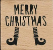 Elf Legs Merry Christmas Wood Mounted Rubber Stamp Dovecraft