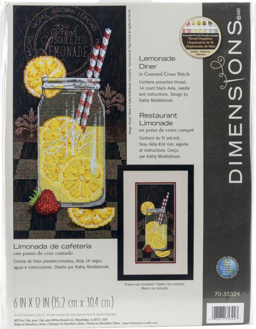 Lemonade Diner Counted Cross Stitch Kit Dimensions