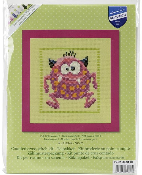 Pink Little Monster II Counted Cross Stitch Kit Vervaco