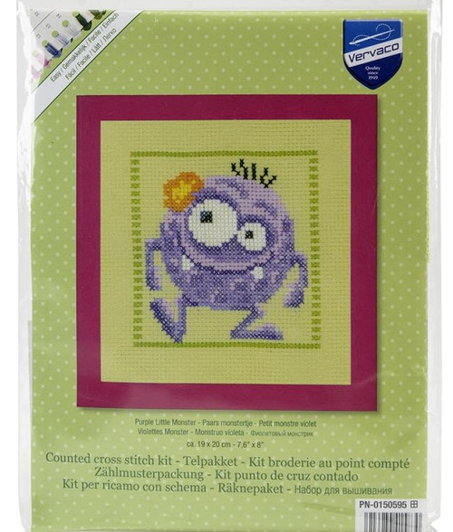 Purple Little Monster Counted Cross Stitch Kit Vervaco