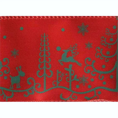 Reindeer Christmas on Red Andee Wide Wired Ribbon 50 yards
