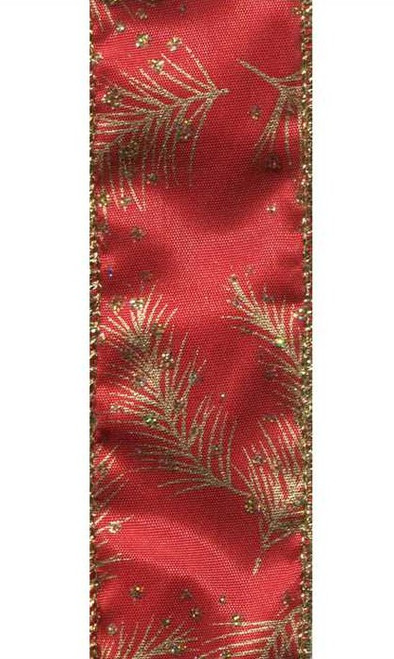 Pine Boughs Gold on Red Satin Wired Ribbon 25 Yards