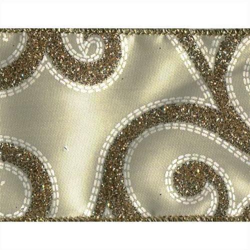 Gold Sparkle Swirl on Ivory Satin Fremada Wide Wired Ribbon 25 yards