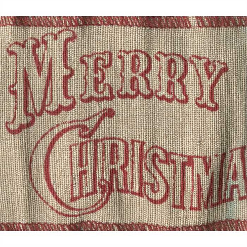 Merry Christmas Red on Natural Burlap Extra Wide Wired Ribbon 10 Yards