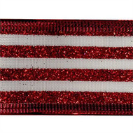 Red Glitter Stripes on White Wired Ribbon 50 Yards