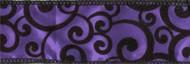 Black Velvet Swirl on Purple Satin Wired Ribbon 25 Yards
