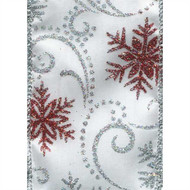 Silver Red Sparkle Snowflake Swirls on White Satin Denzel Wide Wired Ribbon 25 yards