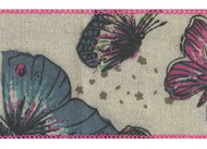Butterflies & Flowers on Natural Weave Flit Wide Wired Ribbon 25 yards