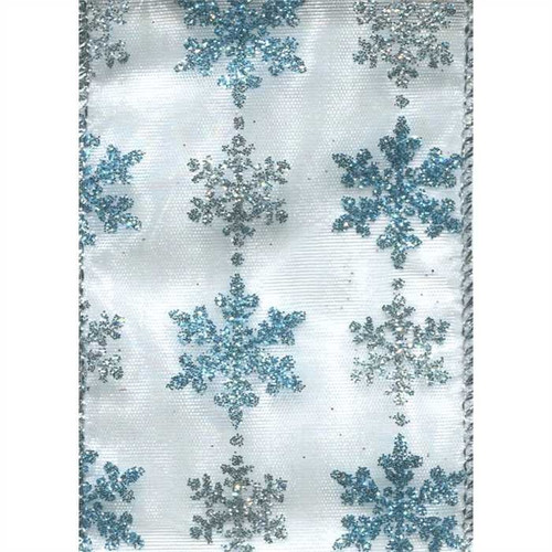 Blue & Silver Sparkle Snowflakes on Light Blue Sheer Jammis Wide Wired Ribbon 25 yards