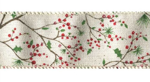 Holly Berry Branches on Light Ivory Solid Nashua Wired Ribbon 25 yards