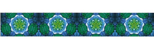 Blue Green Flowers Prismatic Satin Wide Wired Ribbon 25 yards