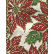 Red Sparkle Poinsettia on White Satin Solid Rhoda Wide Wired Ribbon 25 yards