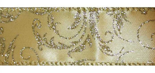 Gold Sparkle Vines on Gold Satin Bethany Wide Wired Ribbon 50 yards