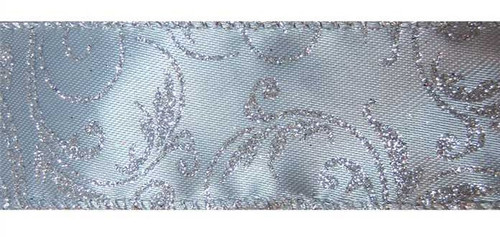 Silver Sparkle Vines on Silver Satin Bethany Wide Wired Ribbon 50 yards