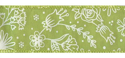 Spring Flowers on Green Natural Weave Fresh Wired Ribbon 25 yards