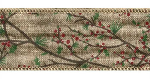 Holly Berry Branches on Natural Weave Branchton Wired Ribbon 25 yards