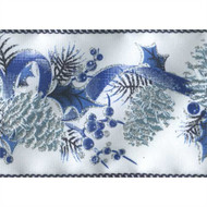 Blue Silver Pinecone & Holly Boughs on White Satin Icedblu Wide Wired Ribbon 25 yards