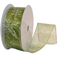 Silver Sparkle Snowflake on Spring Moss Green Sheer Wide Wired Ribbon 50 yards