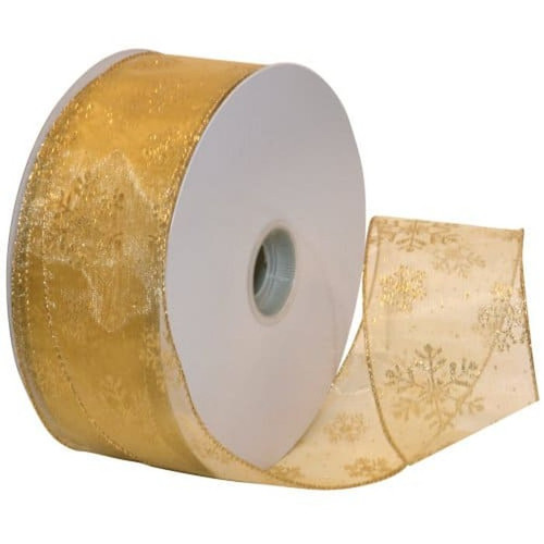 Gold Sparkle Snowflake on Sheer Gold Wide Wired Ribbon 50 yards