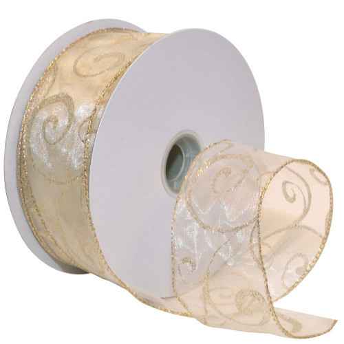 Gold Sparkle Swirls on Sheer Ivory Wide Wired Ribbon 50 yards