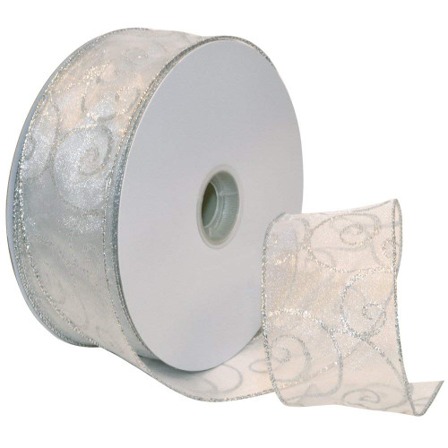 Silver Sparkle Swirls on Sheer White Wide Wired Ribbon 50 yards