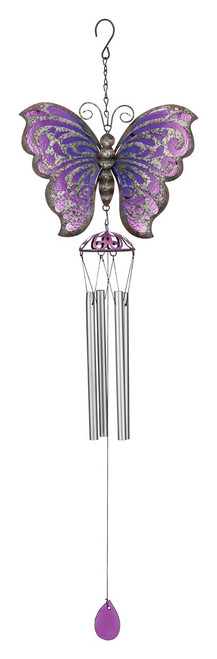 Butterfly Rustic Metal Garden Wind Chime Regal Gifts