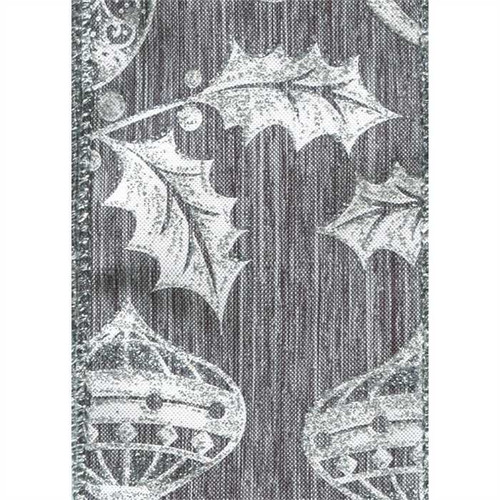 Silver Holly Ornaments on Gray Silver Solid Rossland Wide Wired Ribbon 25 yards