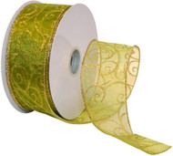 Gold Sparkle Swirls on Sheer Spring Green Wide Wired Ribbon 50 Yards