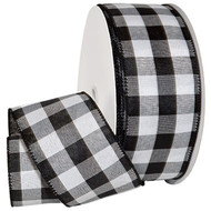 Black White Checked Cambridge Solid Woven Wide Wired Ribbon 50 yards