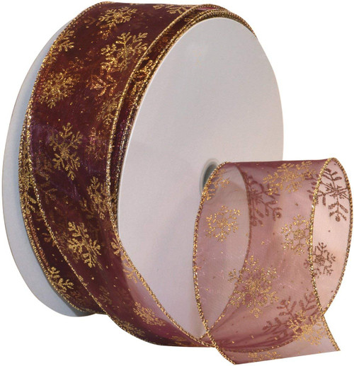 Gold Sparkle Snowflake on Sheer Burgundy Wide Wired Ribbon 50 yards