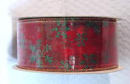 Green Sparkle Snowflake on Sheer Red Wide Wired Ribbon 50 yards