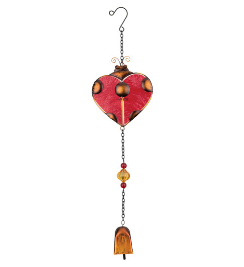 Ladybug Heart Glass Metal Suncatcher Hanging Garden Bell