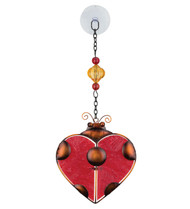 Ladybug Heart Glass Metal Hanging Suncatcher