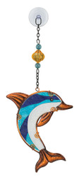 Dolphin Glass Metal Hanging Suncatcher