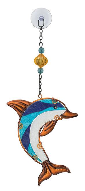 Dolphin Glass Metal Hanging Suncatcher