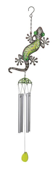 Gecko Southwest Rustic Glass Metal Wind Chime